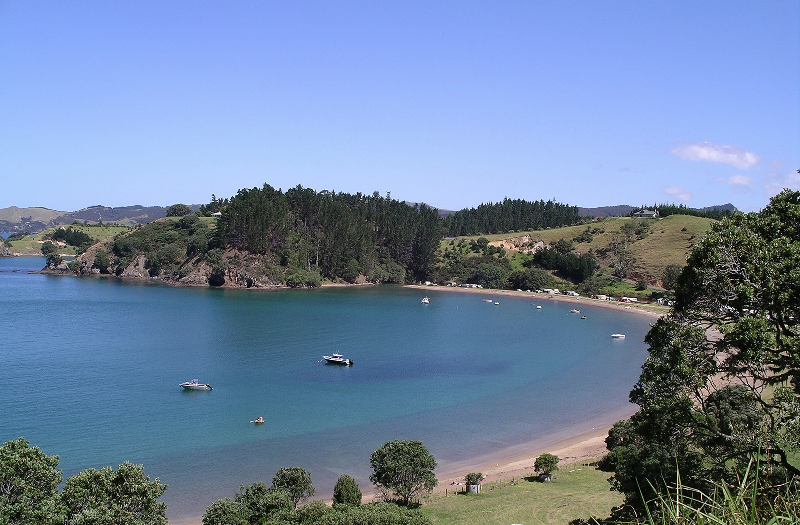 Looking over Mahinepua Beach to Waiwurrie Luxury Bed and Breakfast near the Bay of Islands, Northland